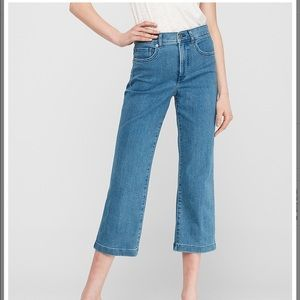 Express High Waisted Cropped Wide Leg Jeans Size 6